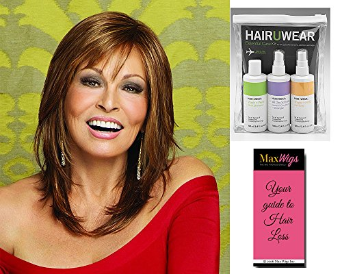 Star Quality Wig Color R9F26 - Raquel Welch Women's Wigs Lace Front Monofilament Part Side Swept Bangs Bundle with Comb, MaxWigs Hair Loss Booklet -