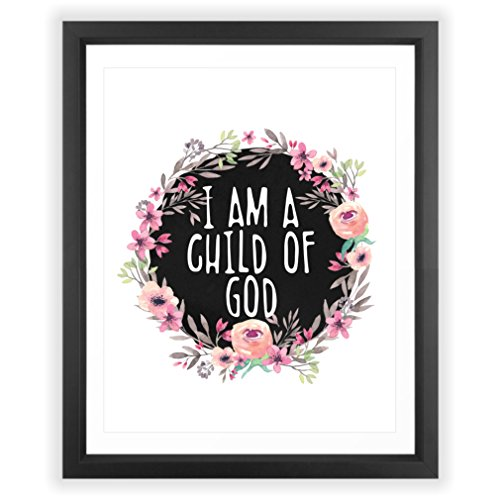 Eleville 8X10 I am a child of god Floral Watercolor Art Print (Unframed) Housewarming Gift Nursery Decor Quote art kids wall art Motivational Poster Baby Shower Gift Holiday Gifts (Gods Children Poster)