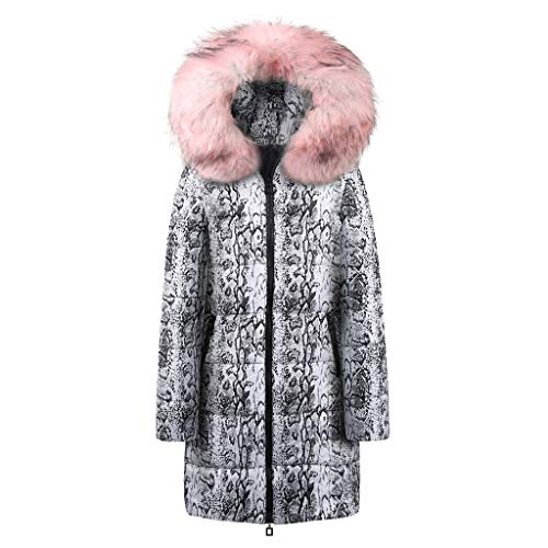 Kulywon Womens Winter Long Down Cotton Snake Print Parka Hooded Coat Jacket Outwear -