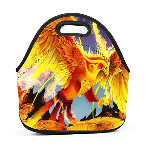 Flame Fire Phoenix Lunch Bag Multifunction Bento Pouch Student Worker Travel Mummy Lunchbox Portable Satchel Baby Bag Tote by SeBto