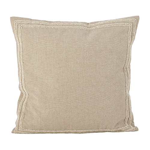 SARO LIFESTYLE Beaded Border Design Cotton Down Filled Throw Pillow, 18