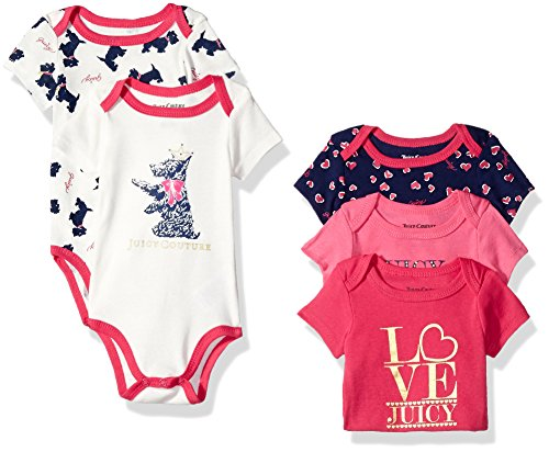 Juicy Couture Baby Girls' 5 Pack Bodysuit, Pink/Navy, 0-3...