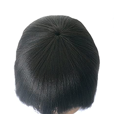 f29d9787db433 Amazon.com   Enoya Human Hair Bob Wigs with Bangs Brazilian Yaki Machine  Made Glueless Short Wigs (12
