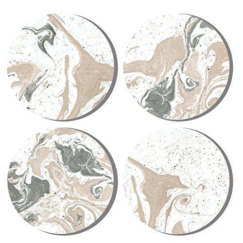 Dragonfruit Design Ceramic Coasters, 4 Pack, Marble Design, Cork Back, 4