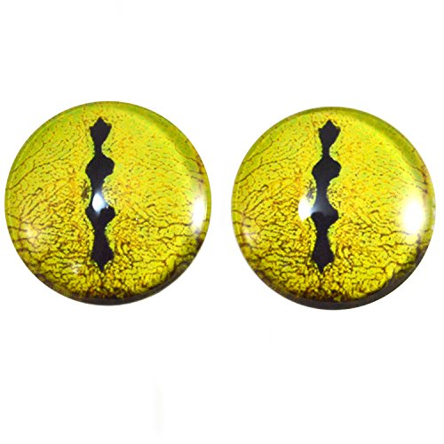 Extra Large 40mm Pair of Yellow Snake Glass Eyes, for Jewelry Making, Dolls, Sculptures, More