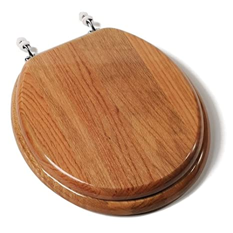 Comfort Seats C1b1r 17ch Designer Solid Wood Toilet Seat With Chrome Hinges Round Oak