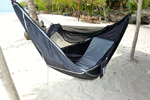 Hammock Bliss Sky Bed Bug Free - Insect Free Hanging Tent That Hangs Like A Hammock But Sleeps Like A Bed - Unique Asymmetrical Design Creates An Amazing Lay Flat Camping Hammock Sleeping Experience