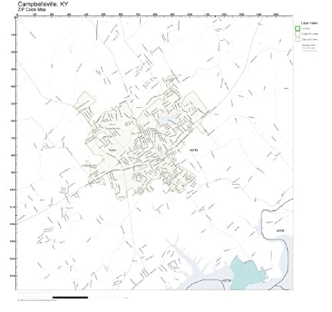 Amazon.com: ZIP Code Wall Map of Campbellsville, KY ZIP Code Map