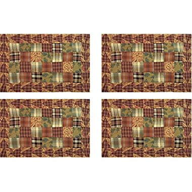 VHC Shenandoah Lined Patchwork Harvest Table Placemats 100% Cotton 91375 12x18  Set of 4 Multi