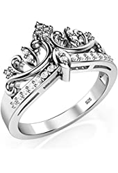 Amazon Com 925 Sterling Silver Princess Crown Ring Jewelry