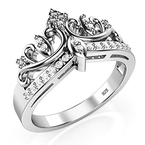 Sz 6 Sterling Silver Cubic Zirconia Princess Crown Tiara CZ Band Ring (Crown Ring Sterling Silver compare prices)
