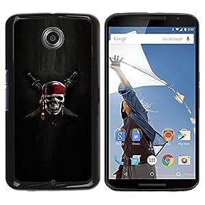 TECHCASE**Cubierta de la caja de protección la piel dura para el ** Motorola NEXUS 6 / X / Moto X Pro ** Skull Skeleton Pirate Symbol Sign Swords
