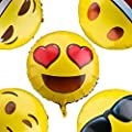"""Emoji Balloons for Party Decorations, 32 Pack Helium Mylar Foil Balloons for Kid's Birthday Party Supplies Favors , Novelty Birthday Wedding Events Decorated Accessories, 18"""" Golden, Assortment."""