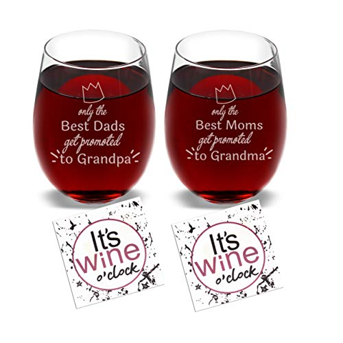 (Only the Best Dads & Moms get promoted to Grandpa & Grandma - Set of 2 Wine Glasses Combo with Coaster and Gift Box - Funny Novelty Present for Mother Father Parents Pregnancy Baby Born Birth )