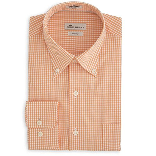 PETER MILLAR Men's Crown Soft GINGHAM SPORT SHIRT (Summer Orange) - M by PETER MILLAR