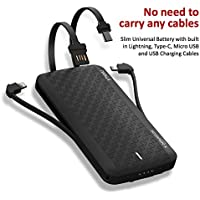 iWALK Scorpion Ultra Slim Power Bank 8000mAh with Built in Type C and Micro USB Recharging Cables (Black)