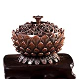 DEBON Red Bronze Alloy Incense Burner Lotus Aroma Furnace Creative Gifts Decorative Crafts Incense Burner Incense Furnace Sandalwood Furnace
