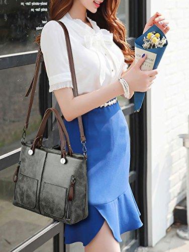 Mujer Bolsos y de y clutches Carteras Gris bolsos mano de hombro bandolera Shoppers 1wq1rXg