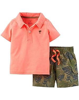 Carters Infant Boys 2-Piece Coral T-Shirt & Tropical Shorts Set