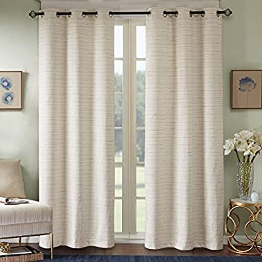 Comfort Spaces Grasscloth Blackout Window Curtain Pair / 2 Pieces Panels Grommet Top Energy Efficient Saving Drapes for Living Room Bedroom and Dorm, 63 inch, Ivory