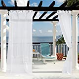 White Linen Sheer Outdoor Curtains - Outdoor Sheer Patio Curtains Light Flitering, Rust Proof Grommet Sheer Panels Drapes with Free Rope TieBack for Wedding/Deck / Yard, Single Panel, 54'' W x 96'' L