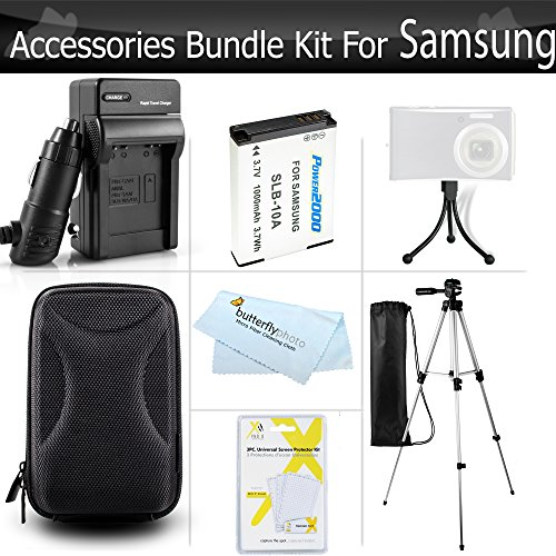 Starter Accessories Kit for Samsung WB350F Smart WiFi Digital Camera Includes Extended Replacement (1000maH) SLB-10A Battery + AC/DC Travel Charger + Case + 50 Tripod + LCD Screen Protectors + More