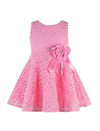 Changeshopping Baby Girls Kids Lovely Lace Floral Princess Party One Piece Dress (0-6month, Pink)
