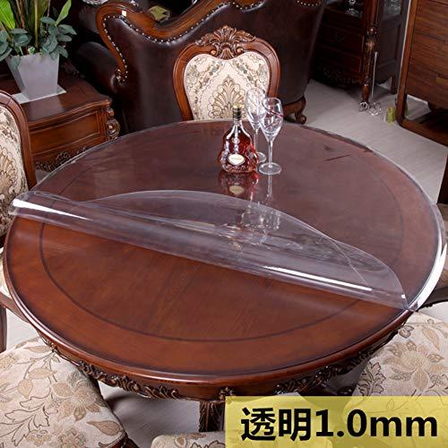 Transparent 1.0mm diamètre 130cm WOAINI Circulaire PVC Vinyle Nappe de Table, Bureau Table Prougeection Transparent Plastique Nappe, épaissir Imperméable Lavable Prougeection Coussin-Transparent 1.0mm diamètre 130cm