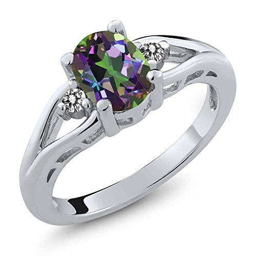 1.37 Ct Oval Green Mystic Topaz White Diamond 925 Sterling Silver 3 Stone Ring (Size 9)
