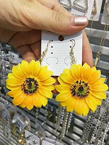 Lovely ladies fashion earrings earring saucy holiday sunflower yellow sunflower wild earrings