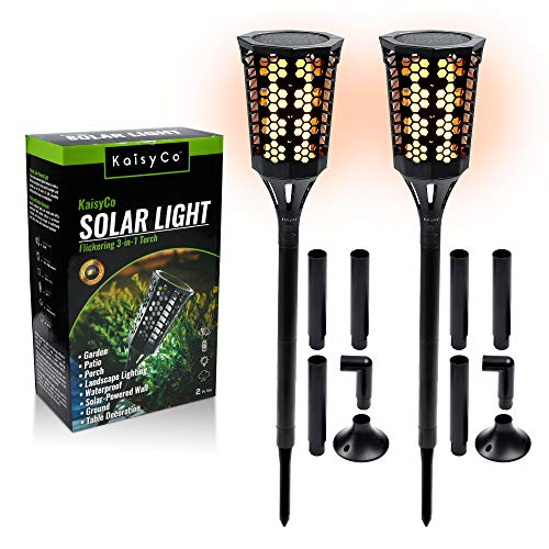 KaisyCo Solar Torch Lights Outdoor (2-Pc. Set) Flickering 3-in-1 Torch | Garden, Patio, Porch, and Landscape Lighting | Waterproof, Solar-Powered Wall, Ground, Table Decoration