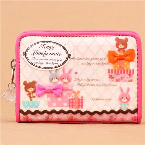 kawaii pink rabbit bear present wallet by Crux
