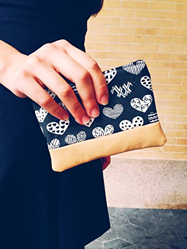 Geometric Hearts Leather Pouch, Coin Purse