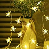 Highill Fairy Lights Battery Powered Stars String Lights 5M 40 LED Battery Operated Decorative Lighting for Christmas Wedding Birthday Indoor Outdoor Use(Warm White)
