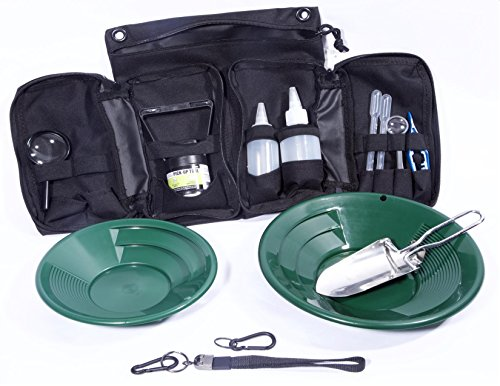 VAS 21 PC Green Prospectors Gold Panning Pan Essentials Set Kit | Molle Bag | 2 Gold Pans | Adults | Kids | Beginners Too! | Equipment for Metal Detecting & Gold Panning (Green Gold Pans)