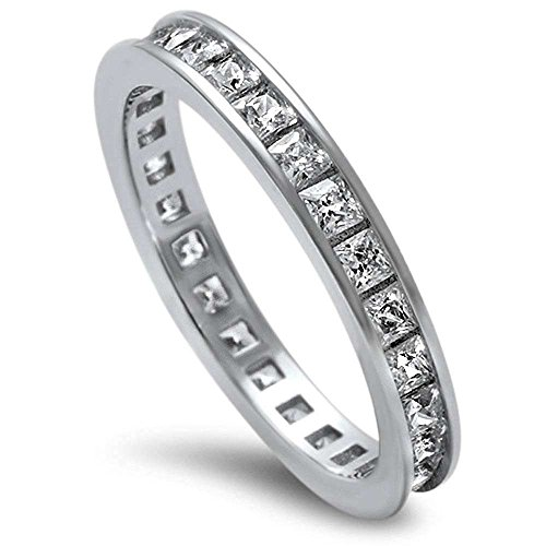 Princess Cut Cubic Zirconia .925 Sterling Silver Eternity Band Size 9 by Oxford Diamond Co