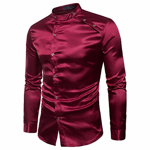 Morrivoe Men's Shirt Slim Fit Long Sleeve Mandarin Collar Button Formal Shirts Tops - Mandarin Collar