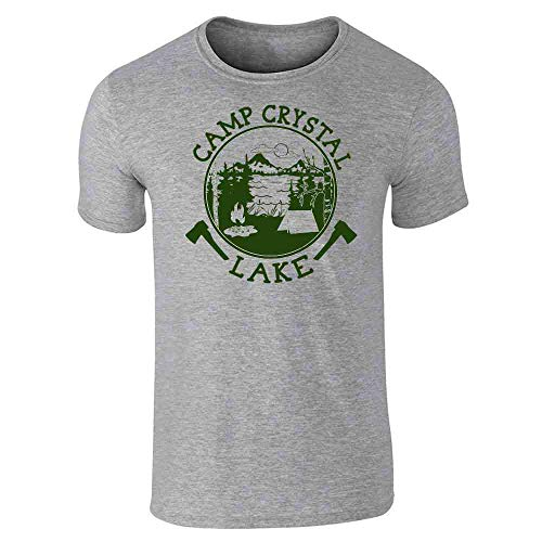 Pop Threads Camp Crystal Lake Counselor Shirt Costume Staff Gray L Short Sleeve -