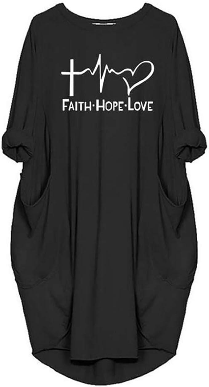 Women's Plus size Faith Dress Shirt Tops Oversize Casual Long Sleeve T-Shirt with Pockets