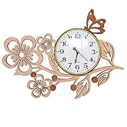 Giftgarden Butterfly Wall Clocks in Wood Five Petaled Flowers