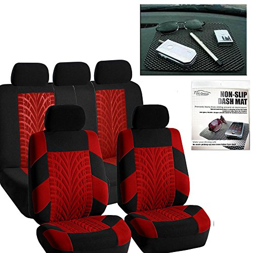 FH Group FH-FB071115 Complete Set Travel Master Seat Covers Red/Black, Airbag Ready & Rear Split FH1002 Non-Slip Dash Grip Pad - Fit Most Car, Truck, SUV, or Van