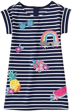 Gymboree Big Girls' Short Sleeve Stripe Dress Patches