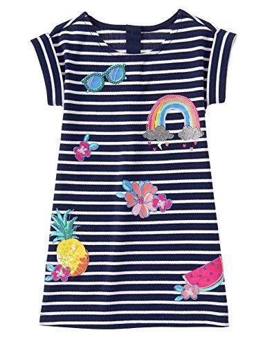 Gymboree Big Girls' Short Sleeve Stripe Dress Patches, Multi, 12