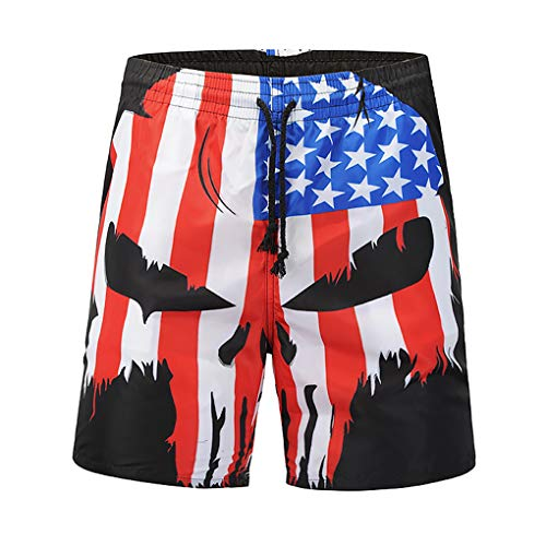 Lohastour Men' s Swim Trunks - Quick Dry Board Shorts, Great for Beach Vacation, Hawaii, Pool Party & Surfing(Skull L) ()