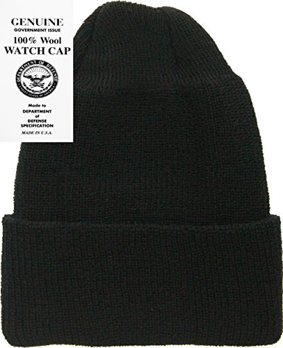 Navy Wool Watch Cap - Military Genuine GI Winter USN Warm Wool Hat Watch Cap (Black)