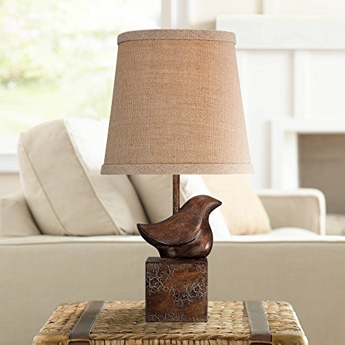 Bird Moderne Country Cottage Accent Table Lamps 15 1 2 High Set of 2 Bronze Crackle Natural Burlap Shade for Bedroom Bedside – 360 Lighting