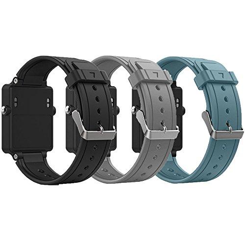 Band for Garmin Vivoactive, Soft Silicone Wristband Replacement Watch Band for Garmin Vivoactive Sports GPS Smart Watch (3Pcs,Black&Grey&Slate)