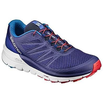 Salomon Men's Sense Pro Max Shoes Blue Depths/White/Fiery Red 10 & Quicklace