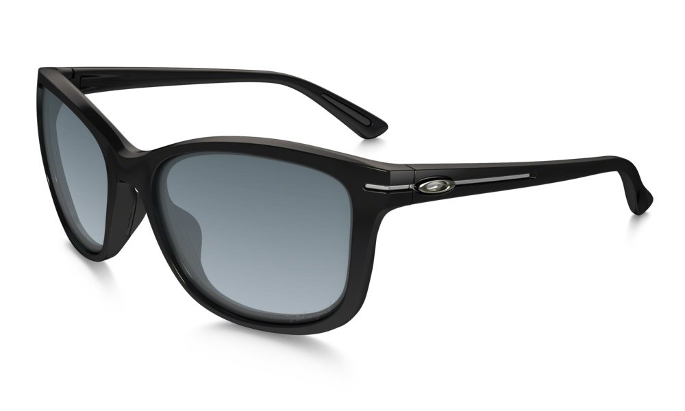 Oakley Women's Drop-In Polarized Rectangular Sunglasses, Polished Black, 58 mm