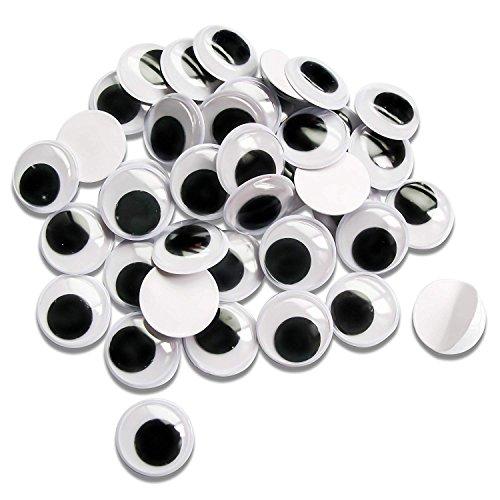 TOAOB 150pcs 25mm Wiggle Googly Eyes with Self-Adhesive Round Black for Crafts Decorations